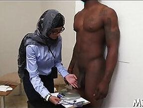 Arab sweetheart disrobes in library