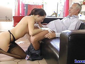 European mature fucks babe plays with her husband