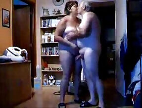 Hidden cam caught my parents home alone having fun in living room