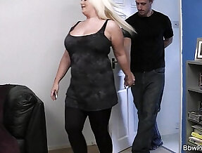 He bangs lovely blonde bbw at first date