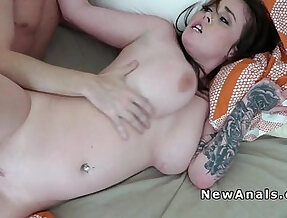 Homemade sex ends up with thick strapon fuck