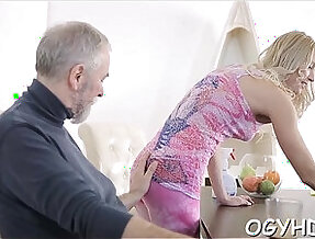 Crazy old guy fucks her young blonde girl