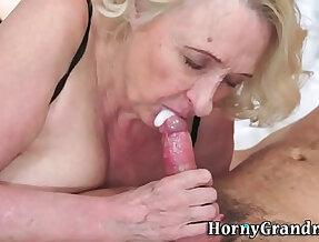 Old granny gives a hot blowjob
