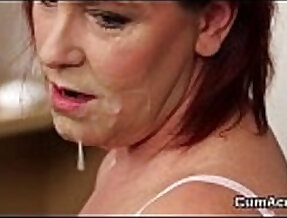 Wicked looker gets jizz shot on her face swallowing all the love juice
