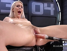 Natural blonde fucking machine and squirting