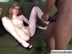 White babe strips for her black master