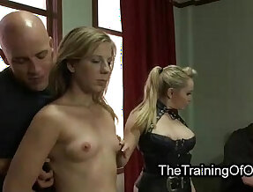 Hairy pussy blonde gangbanged in suspension