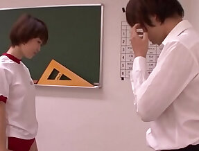 Young schoolgirl blowing teacher