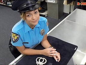 Big boobs police officer pawns her twat pounded hard