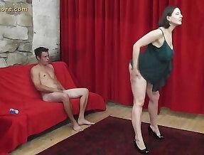 Busty MILF whore seduces a shy beginner guy
