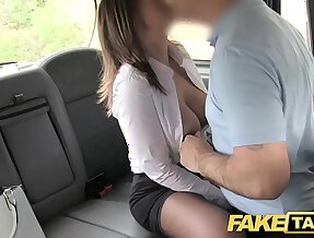Fake Taxi office slut horny girl in stockings anal sex and swallowing