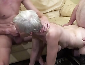 Old woman makes a threesome sex with her nephew and her father