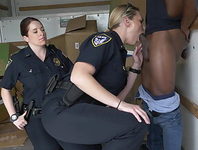 Black suspect taken on a rough ride, gets horny Milf cops wet and fucking on stolen goods
