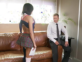 Hot Colombian school girl Canela fucks principal