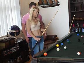 Stepmom plays with stepson\'s cue stick
