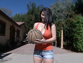 Big natural tits and basketball